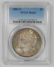 1881-S MORGAN SILVER DOLLAR, PCGS MS-64  GREAT TONING