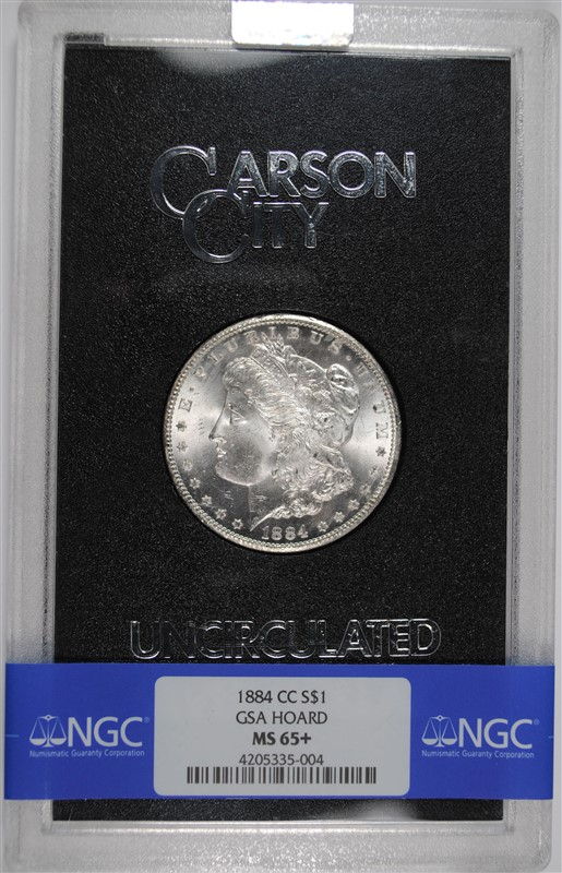 1884-CC GSA MORGAN SILVER DOLLAR, BANDED NGC MS-65+  WITH ORIG BOX