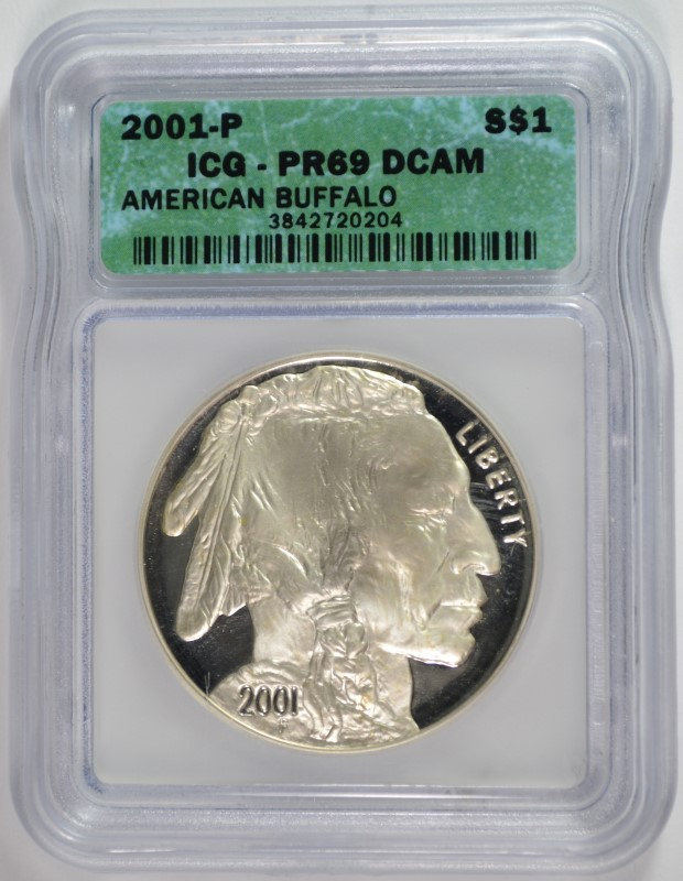 2001-P BUFFALO  COMMEMORATIVE SILVER DOLLAR, ICG PR-69 DCAM