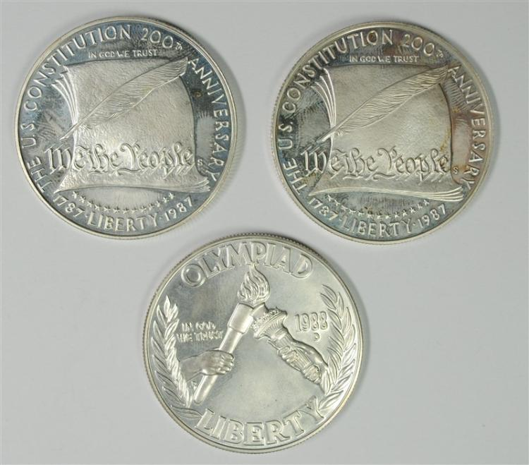 ( 2 ) 1987- S Pf CONSTITUTION & 1988-D OLYMPICS BU SILVER DOLLARS ( COINS ONLY )