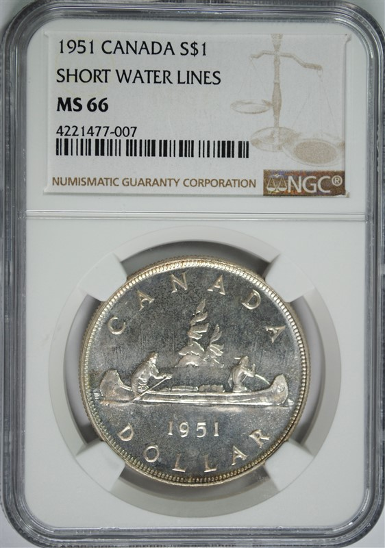 1951 CANADA SILVER DOLLAR, SHORT WATER LINES, NGC MS-66 RARE!!! POP OF ONLY (2)