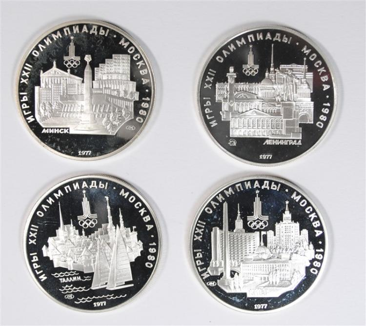( 4 ) 1980 RUSSIAN 5 RUBLE OLYMPIC SILVER COINS,   .4823 T Oz ASW EACH