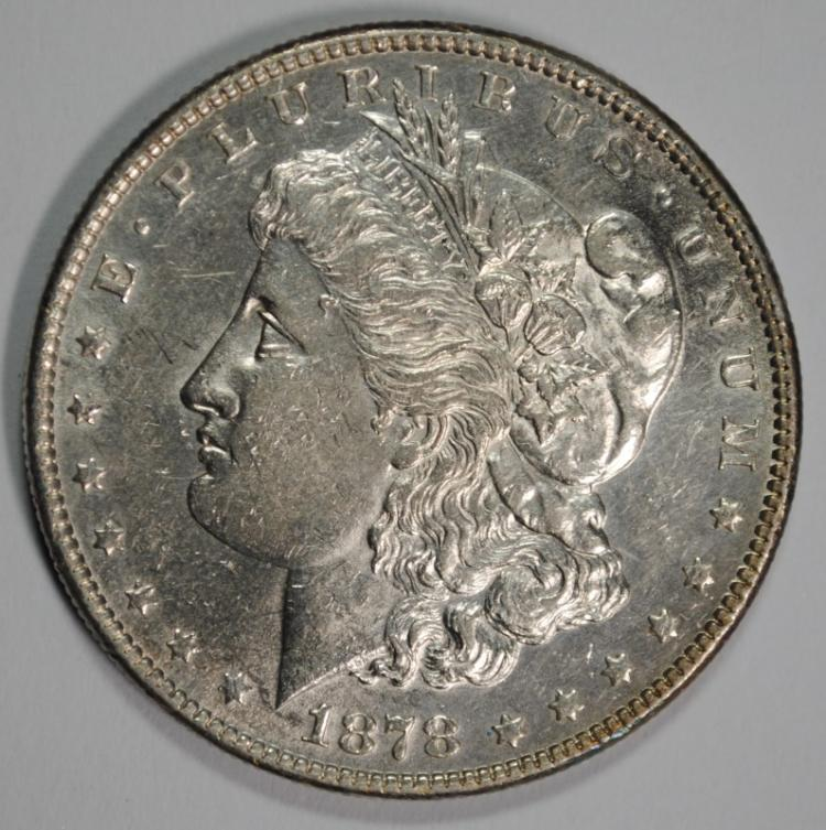 1878-S MORGAN SILVER DOLLAR, CHOICE BU