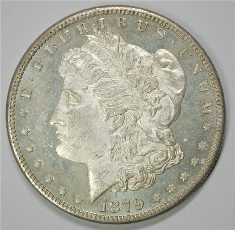 1879-S MORGAN SILVER DOLLAR, CHOICE BU  OBVERSE IS PROOF-LIKE