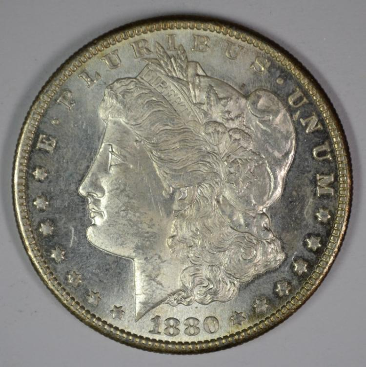 1880-S MORGAN SILVER DOLLAR, CHOICE BU