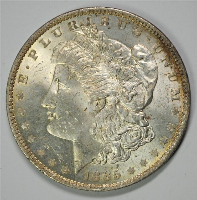 1885-O MORGAN SILVER DOLLAR, CHOICE BU RAINBOW TONING ON REVERSE