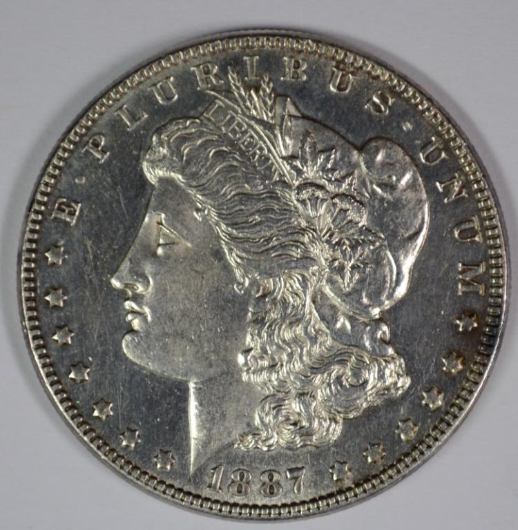 1887 MORGAN DOLLAR CH BU CLEANED