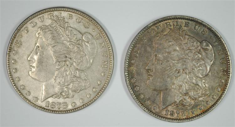 ( 2 ) 1878 7TF MORGAN SILVER DOLLARS, AU