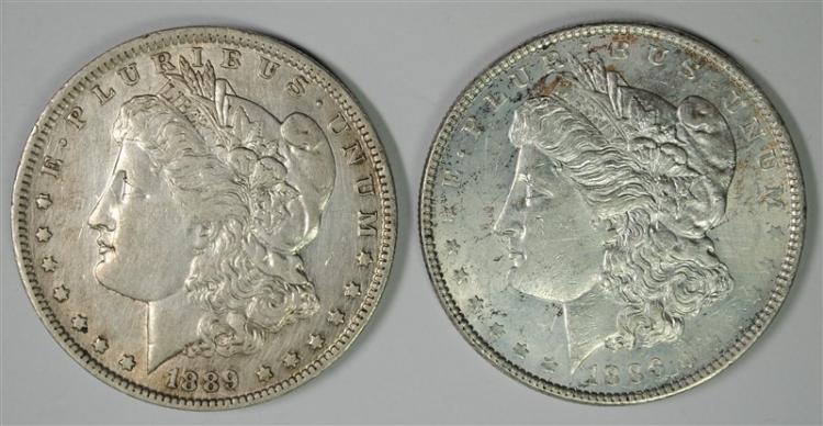 1886 UNC & 1889-O XF MORGAN SILVER DOLLARS