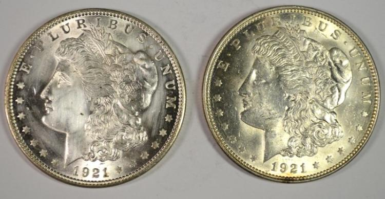 2 - 1921 MORGAN DOLLARS BU