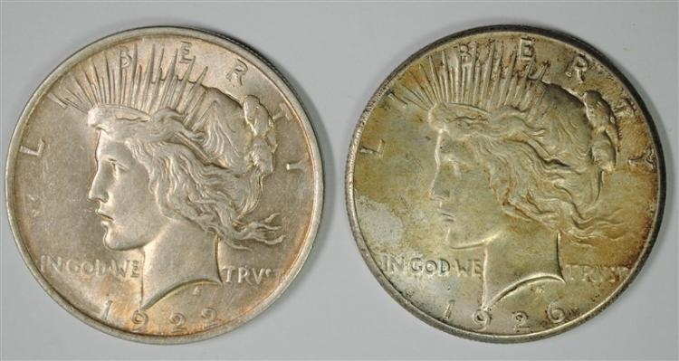 1922 & 1926 PEACE SILVER DOLLARS, BOTH BU & BOTH TONED