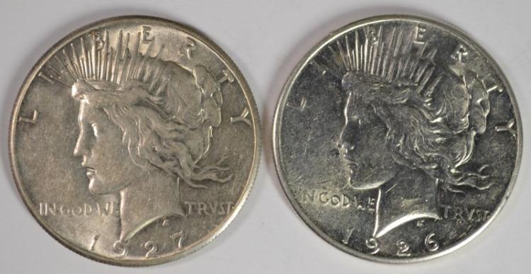 1926-S & 1927 PEACE DOLLAR CH AU