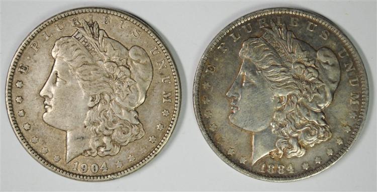 ( 2 ) MORGAN SILVER DOLLARS: 1904 XF & 1884-O XF/AU