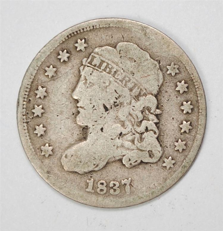 1837 CAPPED BUST HALF DIME, G/VG