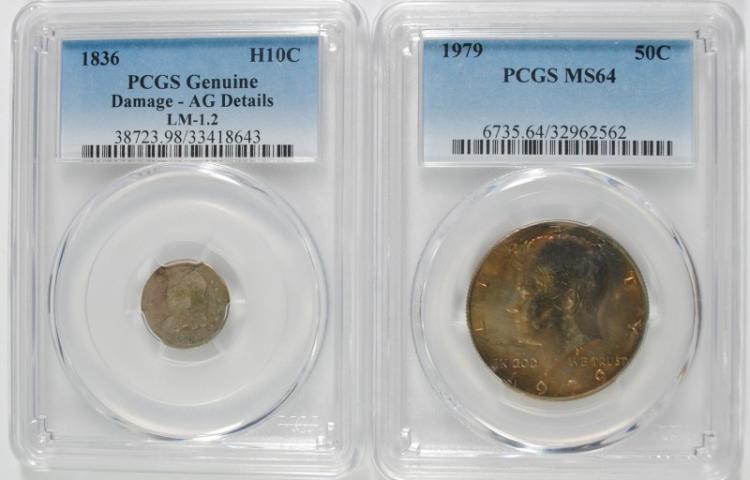 2-PCGS GRADED COINS: 1836 HALF DIME, AG & 1979 HALF DOLLAR MS-64
