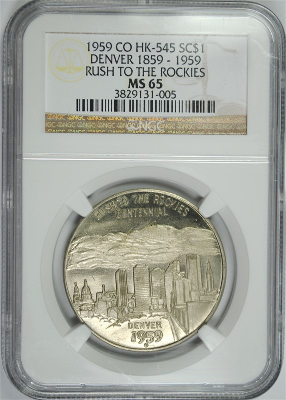 1859 CO HK-545 SO CALLED DOLLAR ( RUSH TO THE ROCKIES, NGC  MS-65