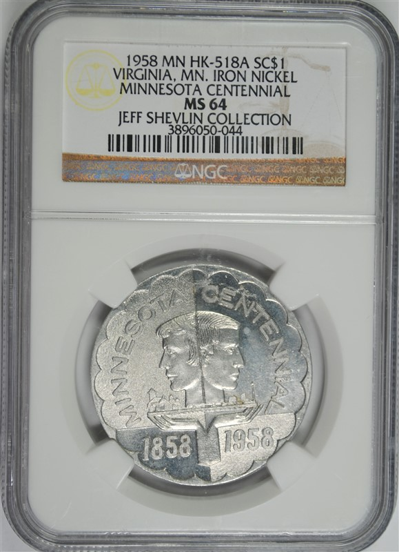 1958 MN HK-518A SO CALLED DOLLAR MINNESOTA CENTENNIAL, NGC MS-64