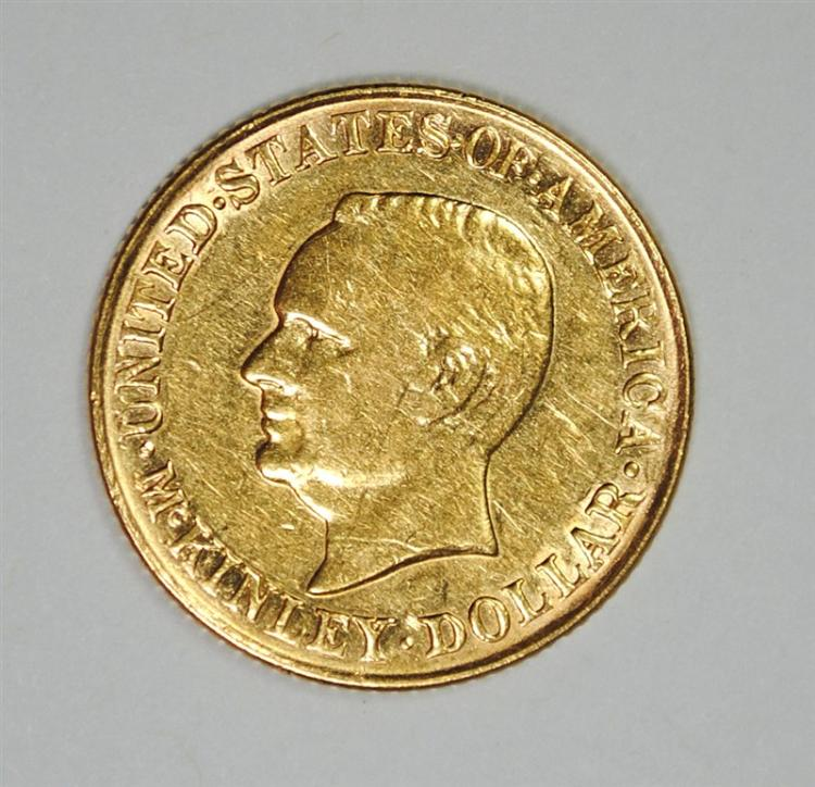 1917 McKINLEY GOLD COMMEMORATIVE DOLLAR, AU/UNC
