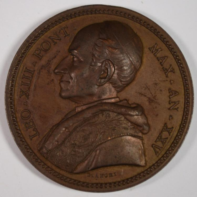BRONZE PAPAL MEDAL POPE LEO XIII ANNO XXV NICE HIGH RELIEF MEDAL!! HIGHER GRADE