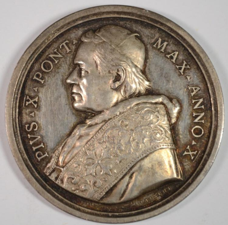 1903-13 SILVER PAPAL MEDAL POPE PIUS X LOOKS PROOF-LIKE