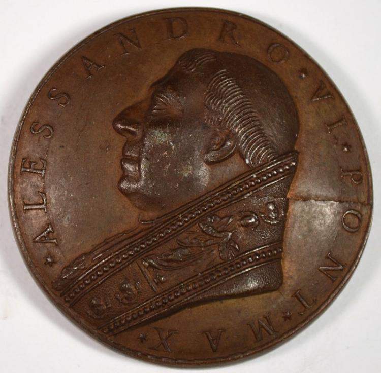 1500 BRONZE PAPAL MEDAL ALEXANDER VI SYMBOLIC
