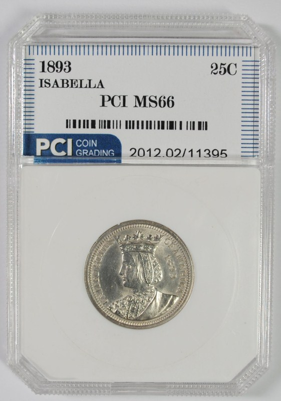 1893 ISABELLA COMMEMORATIVE SILVER QUARTER DOLLAR 25C PCI SUPERB GEM