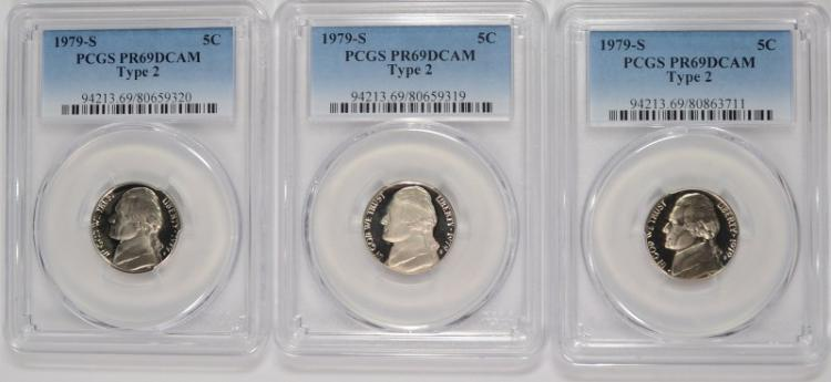 ( 3 ) 1979-S TYPE-2 JEFFERSON NICKELS, PCGS PR-69 DCAM
