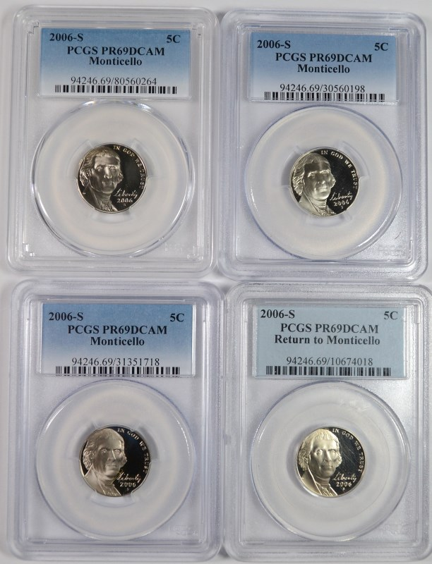 ( 4 ) 2006-S MONTICELLO JEFFERSON NICKELS, PCGS PR-69 DCAM