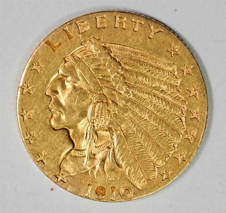 1910 $2.5 GOLD INDIAN BU