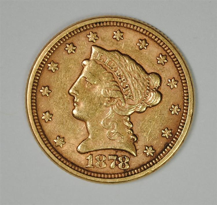 1878 $2.50 GOLD LIBERTY, AU