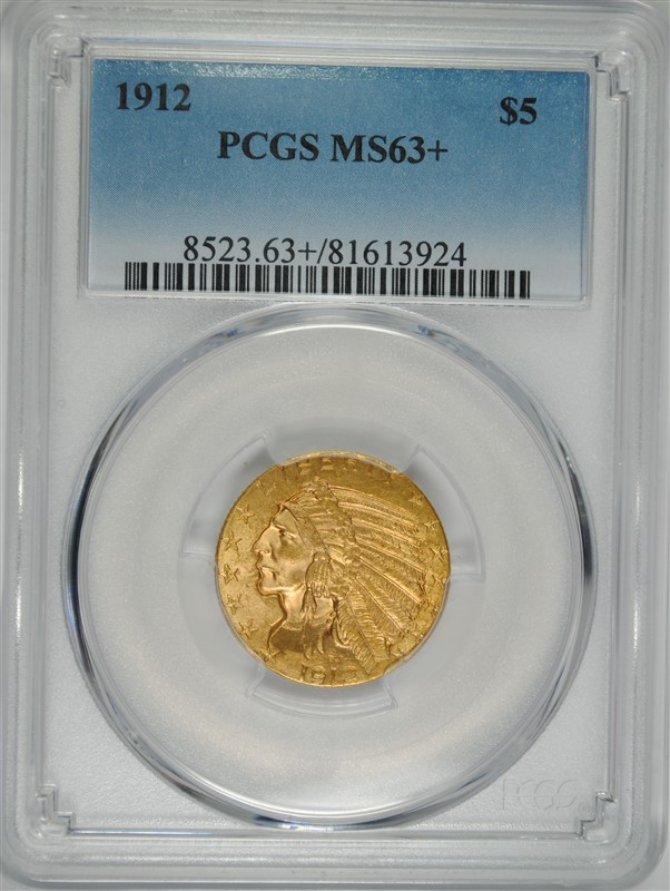 1912 $5.00 GOLD INDIAN, PCGS MS-63+