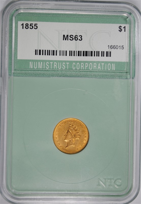 1855 TYPE 2 $1.00 GOLD NTC CHOICE BU