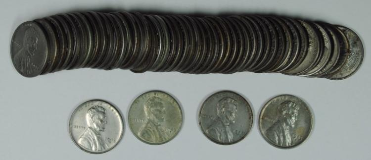 BU ROLL OF 1943-S LINCOLN STEEL CENTS SOME PITTING & CORROSION NOTED