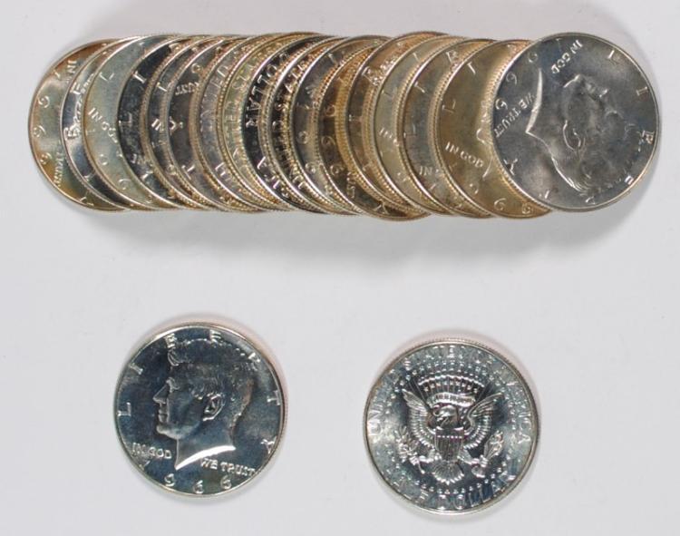 GEM BU ROLL OF 1966 SMS KENNEDY HALF DOLLAR  ( 20 ) COINS  A FEW