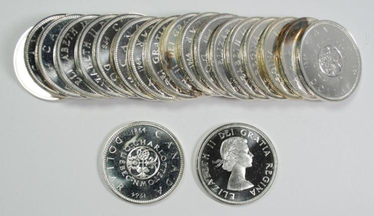 ROLL ( 20 ) SUPERB GEM BU 1964 CANADA SILVER DOLLARS