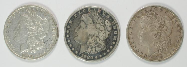 3 MORGAN SILVER DOLLARS; 1879, 1880, 1880-O AVG CIRC