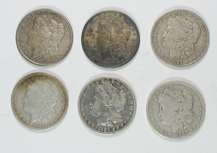 6 - MORGAN SILVER DOLLARS, AVG CIRC; 4- 1889-O, 2- 1889