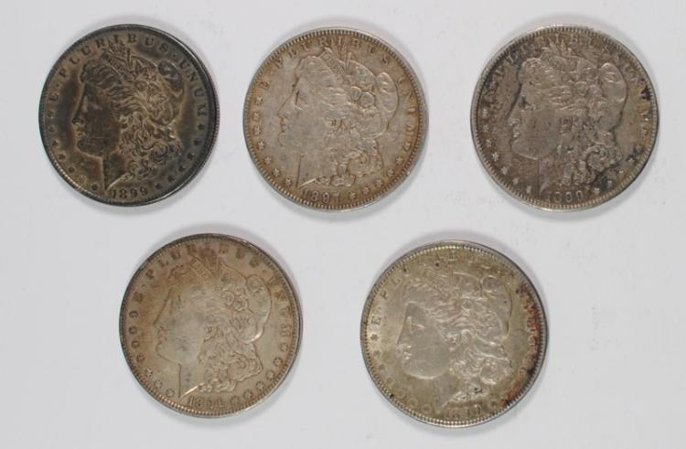 5-CIRC MORGAN SILVER DOLLARS: 1890, 1891, 1897 & 2-1899-O