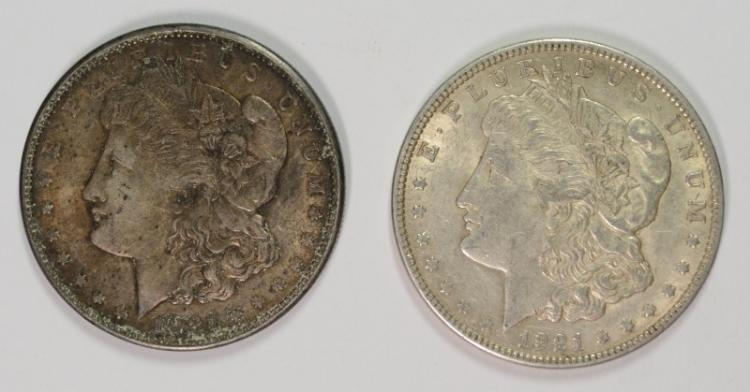 2 - MORGAN DOLLARS;1921 AU & 1921-D AU