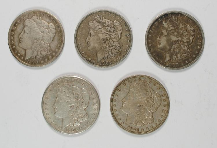 5 - MORGAN SILVER DOLLARS; 1890-S, 1902, 1900-O, 1921-S, 1921-D CIRC