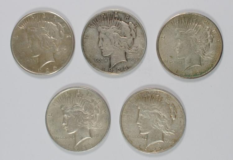 ( 5 ) CIRCULATED PEACE SILVER DOLLARS: 1922-P-D-S, 1923-D & 1925