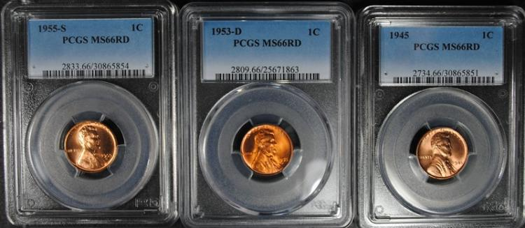 ( 3 ) PCGS GRADED MS-66 RED LINCOLN CENTS: 1945, 53-D & 55-S