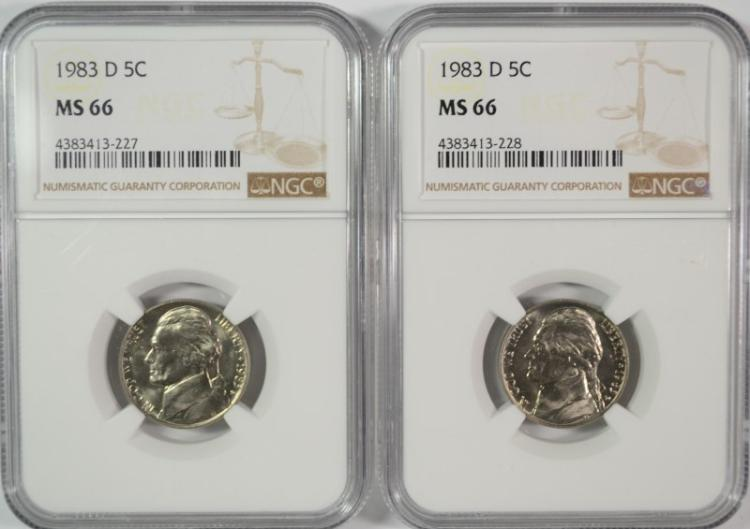 ( 2 ) 1983-D JEFFERSON NICKELS NGC MS-66 KEY DATE