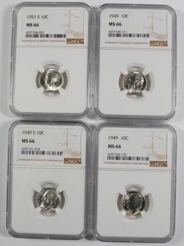 2 1949, 51-S, 49-S ROOSEVELT DIMES NGC MS-66