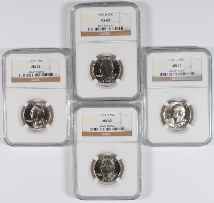 4 - NGC MS65 WASHINGTON QUARTERS: 1981-D, 1987-D, 1990-D & 1993-D