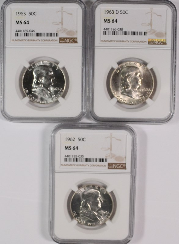 1962, 1963 & 1963-D FRANKLIN HALF DOLLARS, NGC MS-64