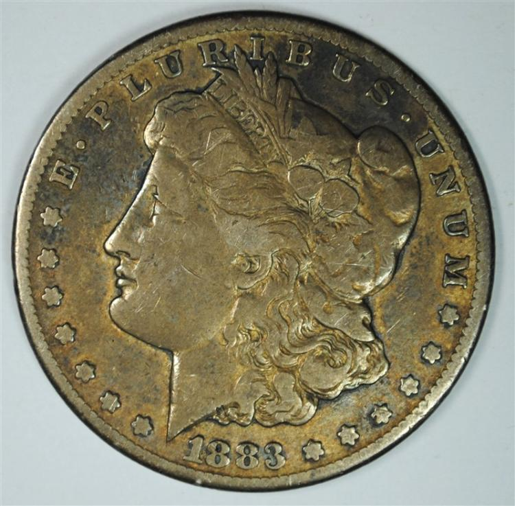 1883-CC MORGAN SILVER DOLLAR, VG/FINE  GREAT TONING