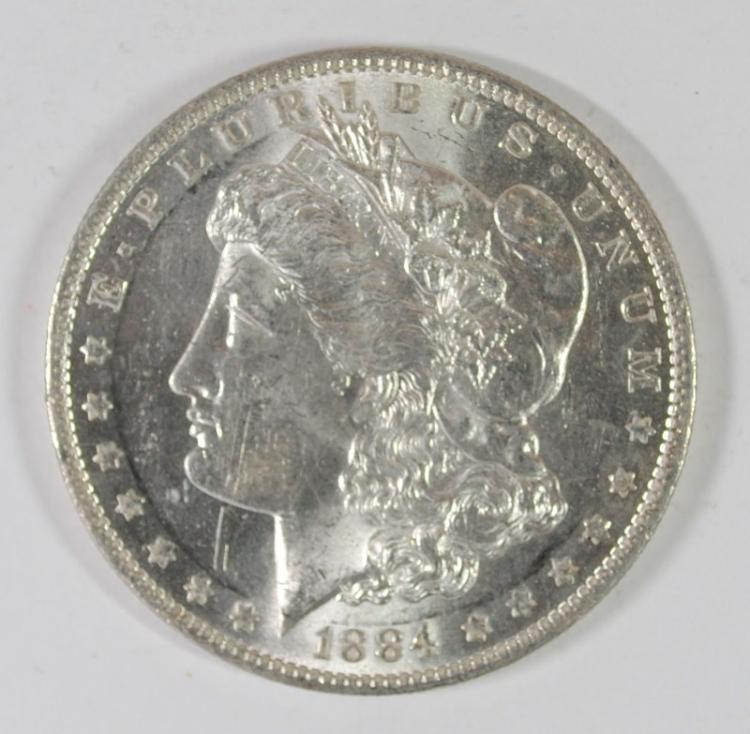 1884-O MORGAN SILVER DOLLAR, CHOICE BU
