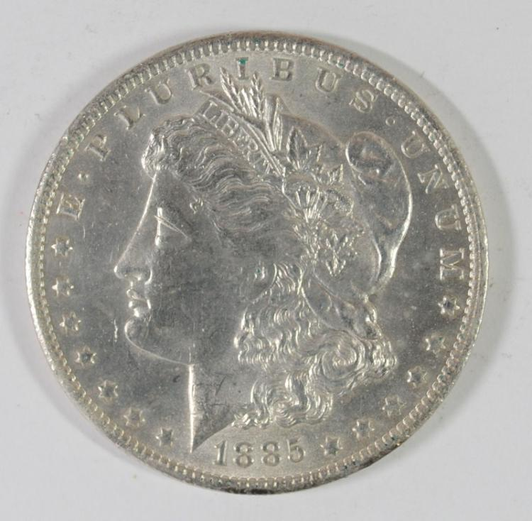 1885-O MORGAN SILVER DOLLAR, CHOICE BU