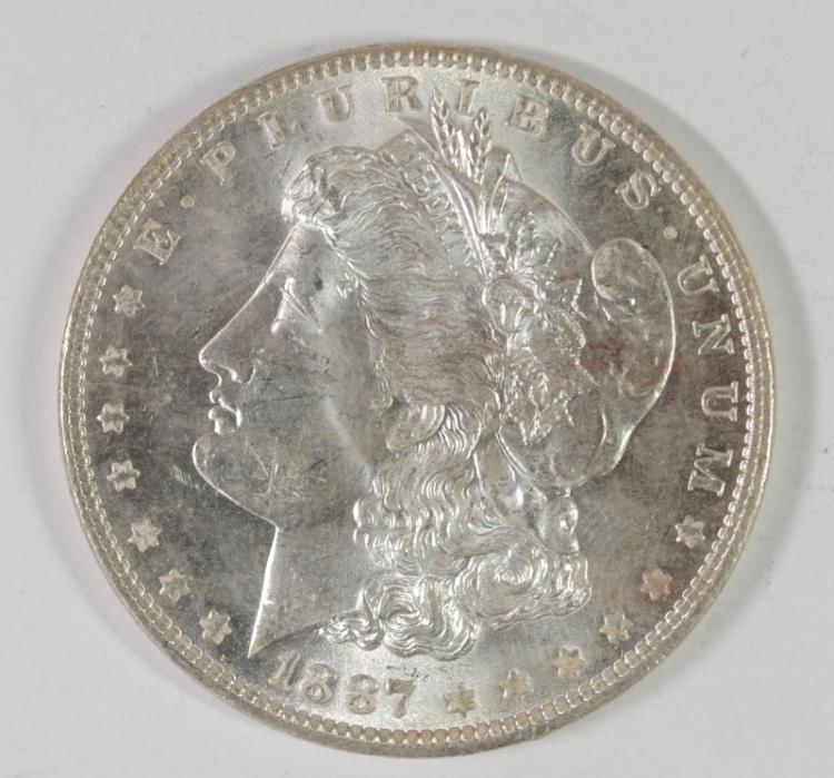1887 MORGAN SILVER DOLLAR, CHOICE BU